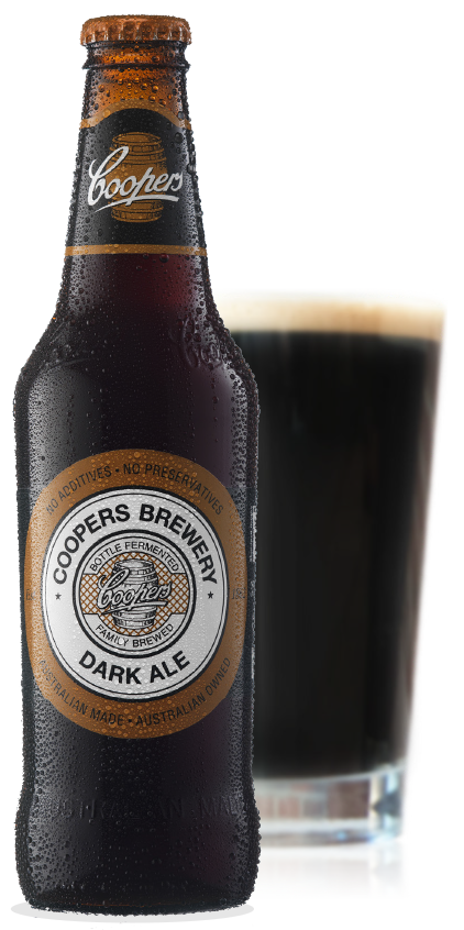 Coopers Dark Bottle and Glass