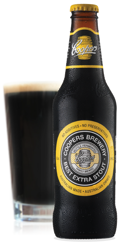Coopers Best Extra Stout Bottle and Glass